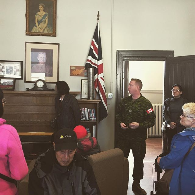 Sgt. Doug Bailey shows us the sergeants lounge which is right off the sergeants mess. There's a picture of a Guelph officer getting the Order of the British Empire from King George VI, and a Canadian flag that flew in Afghanistan.