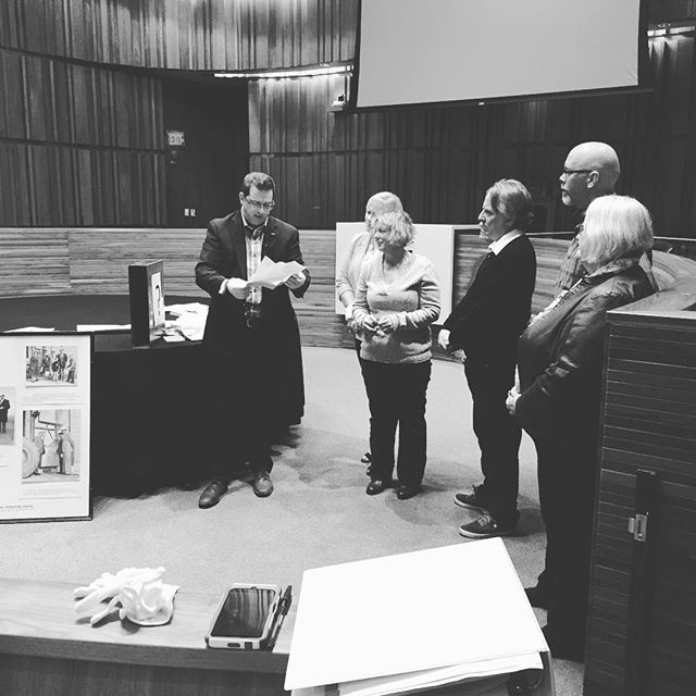 Before committee of the whole today, @mayorcamguthrie and members of council opened a time capsule buried in the cornerstone of the Victoria Road Recreation Centre in 1974. Inside were newspapers, city rec materials, a letter from Mayor Norm Jary, postcards, and other #Guelph items. The capsule will be put back with items from the present to be opened in 25 years from now when the Rec Centre reopens later this year.