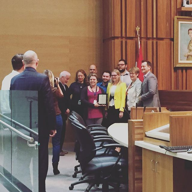 Here are @cityofguelph staffers being recognized for their hard work. See the live blog: https://guelphpolitico.blogspot.ca/2017/10/live-blog-committee-of-whole-for.html?m=1
